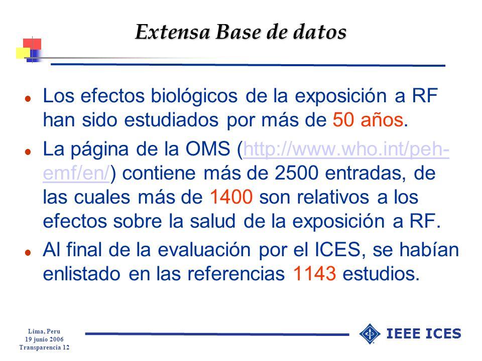 Extensa Base de datos Los efectos biológicos de la exposición a RF han sido estudiados por más de 50 años.