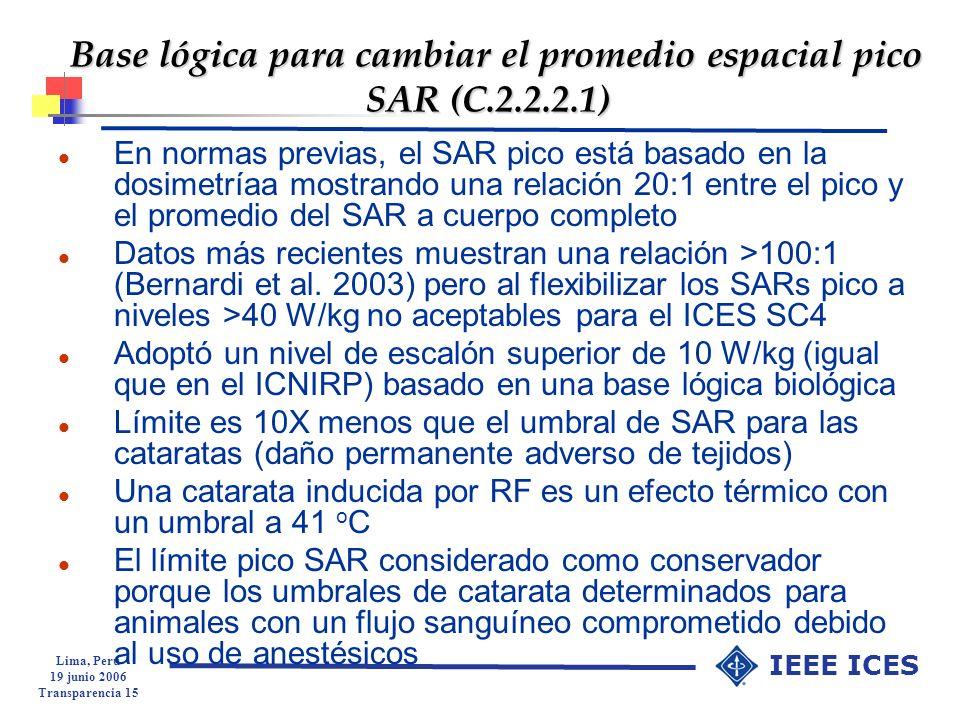 Base lógica para cambiar el promedio espacial pico SAR (C.2.2.2.1)