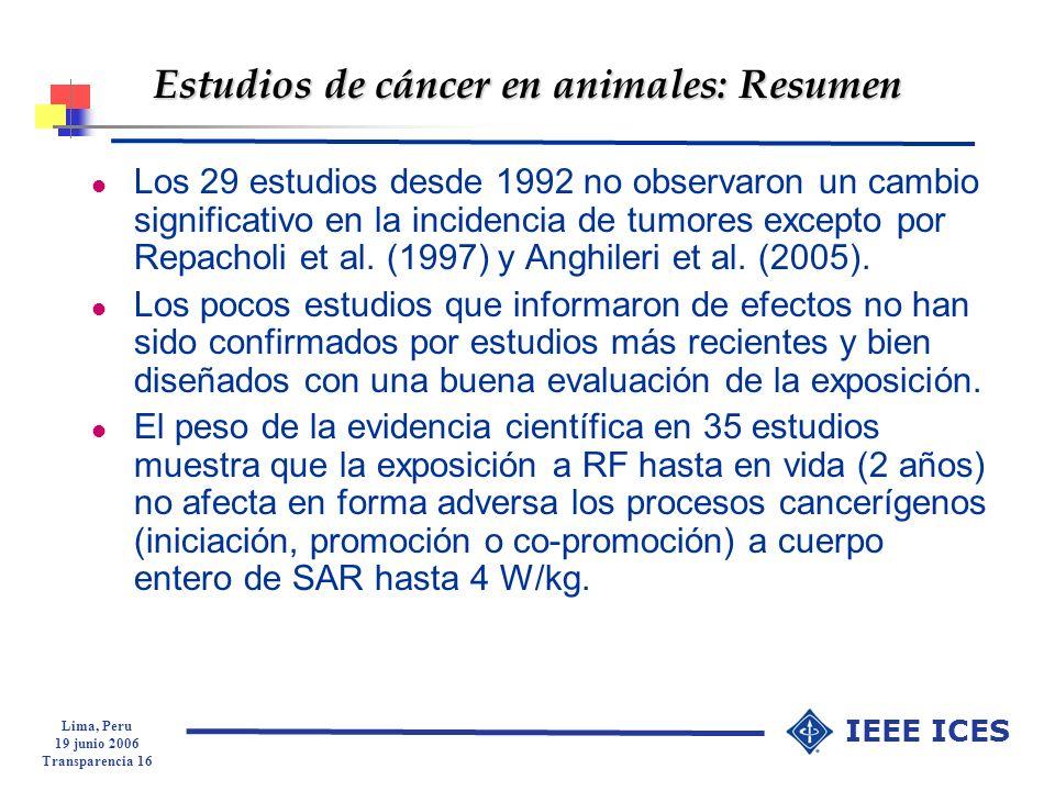 Estudios de cáncer en animales: Resumen