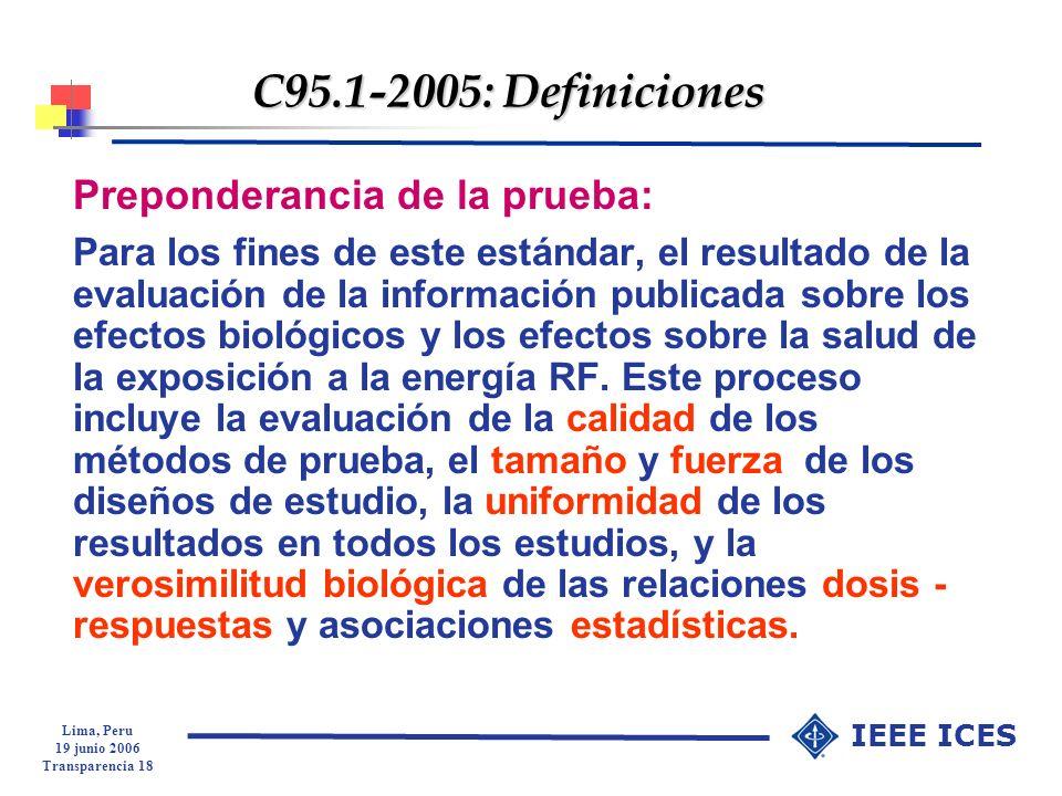C95.1-2005: Definiciones Preponderancia de la prueba:
