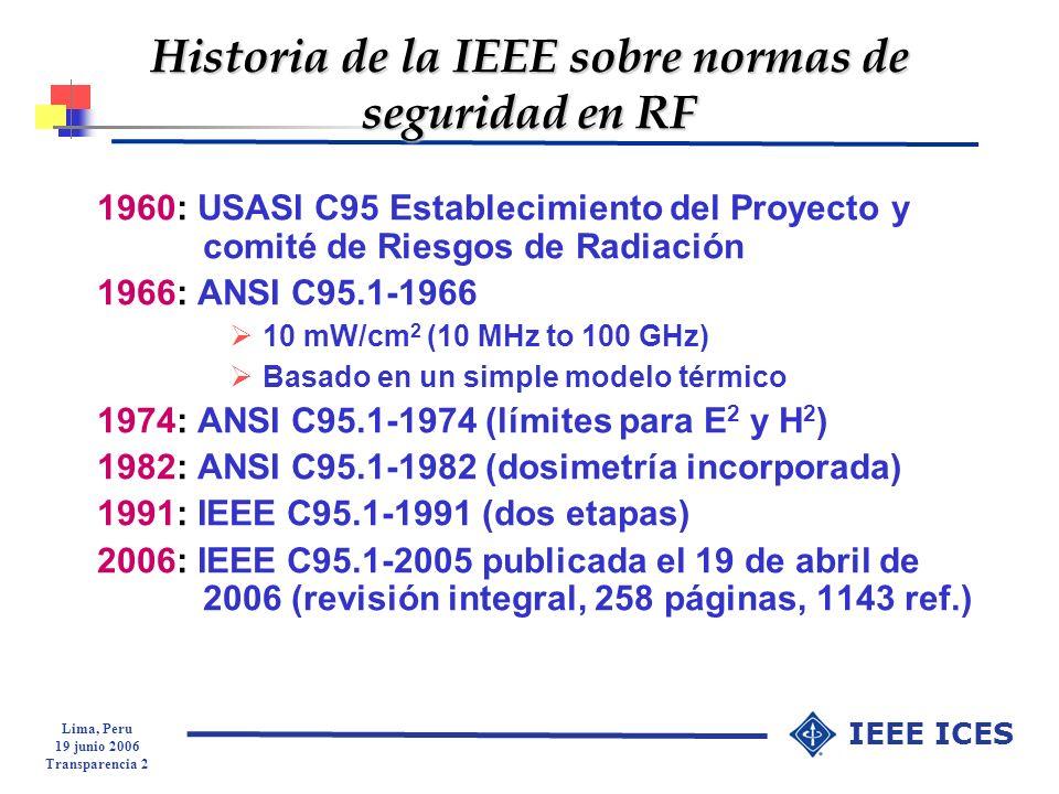 Historia de la IEEE sobre normas de seguridad en RF