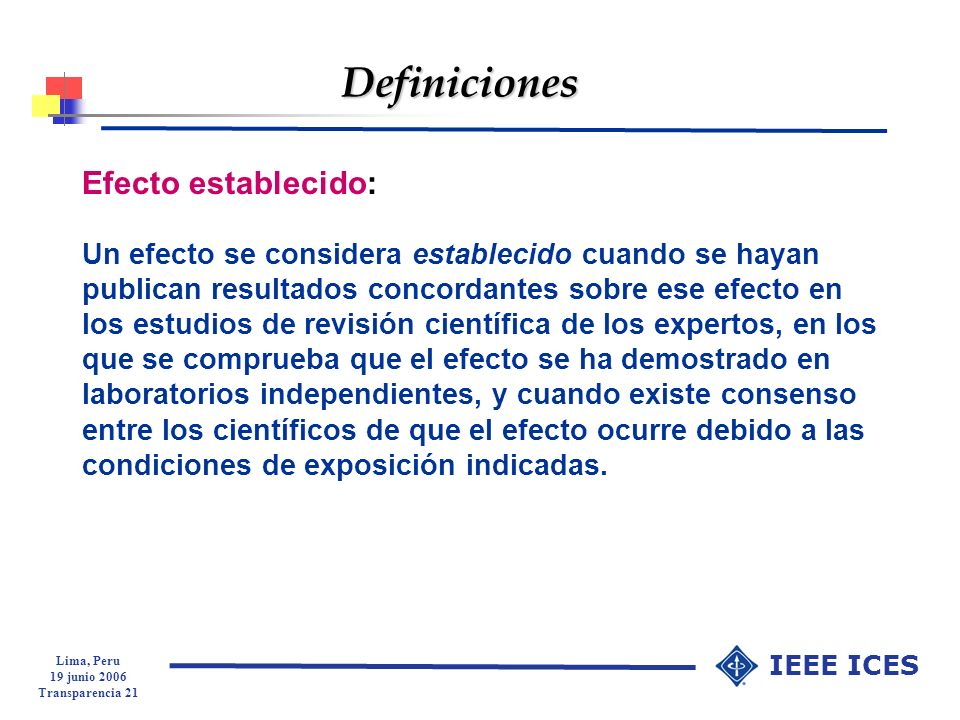 Definiciones Efecto establecido: