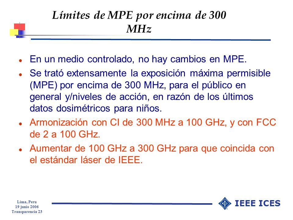 Límites de MPE por encima de 300 MHz