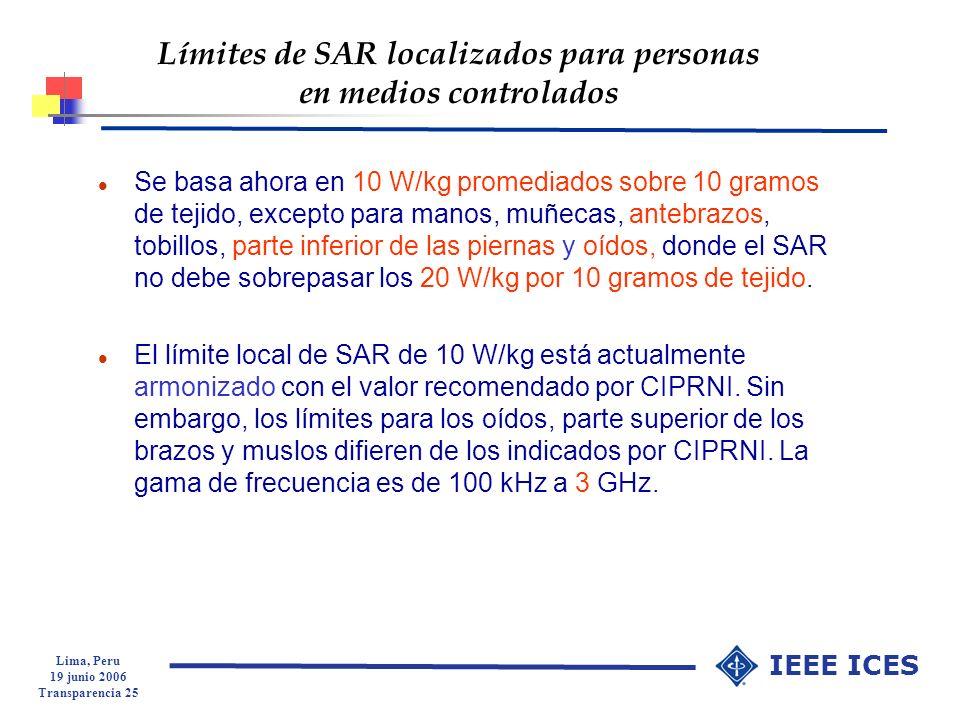 Límites de SAR localizados para personas en medios controlados