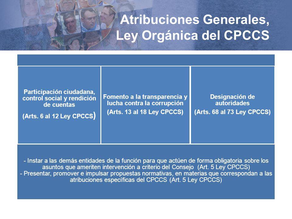 Atribuciones Generales, Ley Orgánica del CPCCS