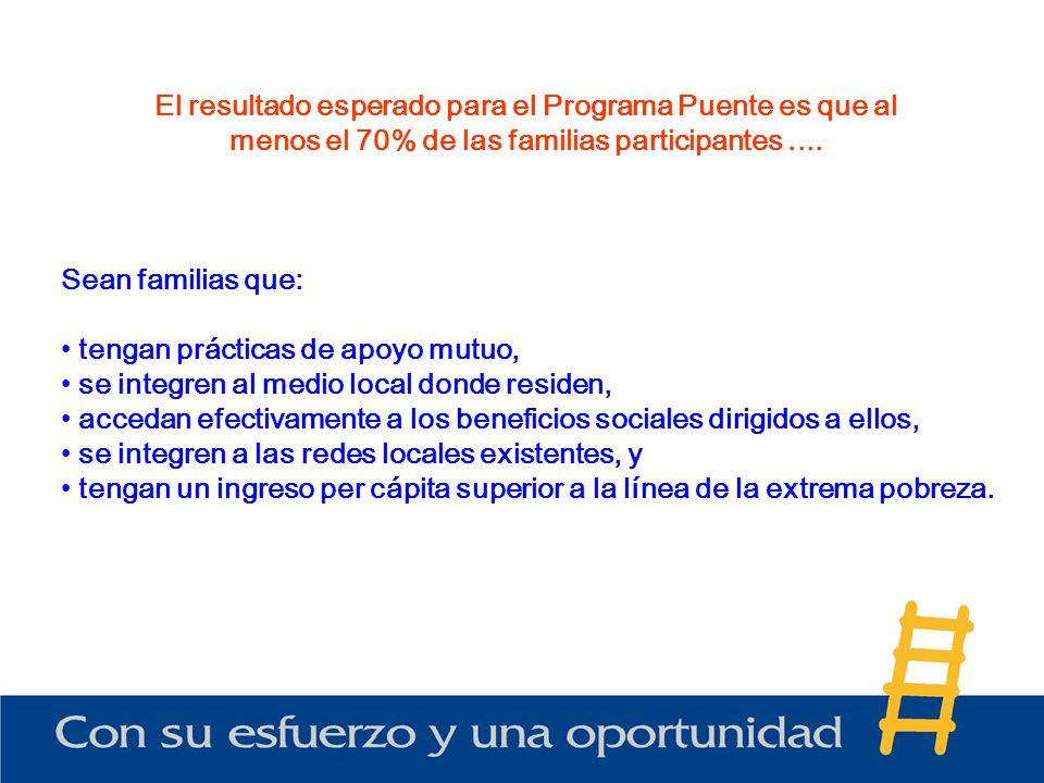El resultado esperado para el Programa Puente es que al menos el 70% de las familias participantes ....