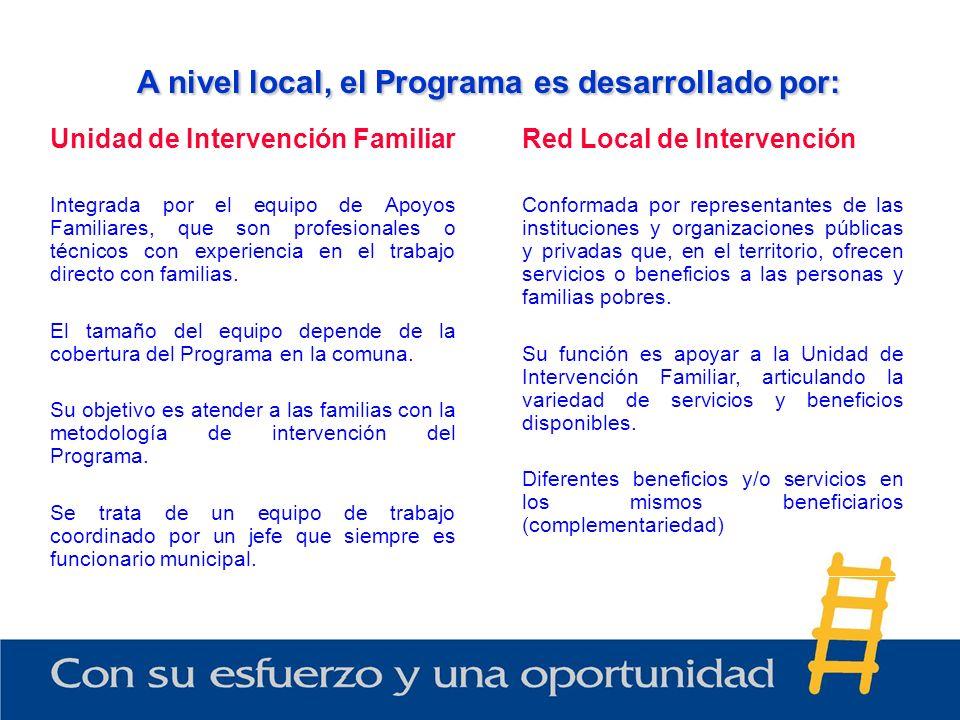 A nivel local, el Programa es desarrollado por:
