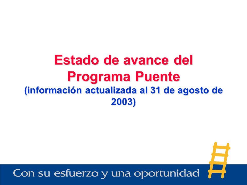 Estado de avance del Programa Puente (información actualizada al 31 de agosto de 2003)