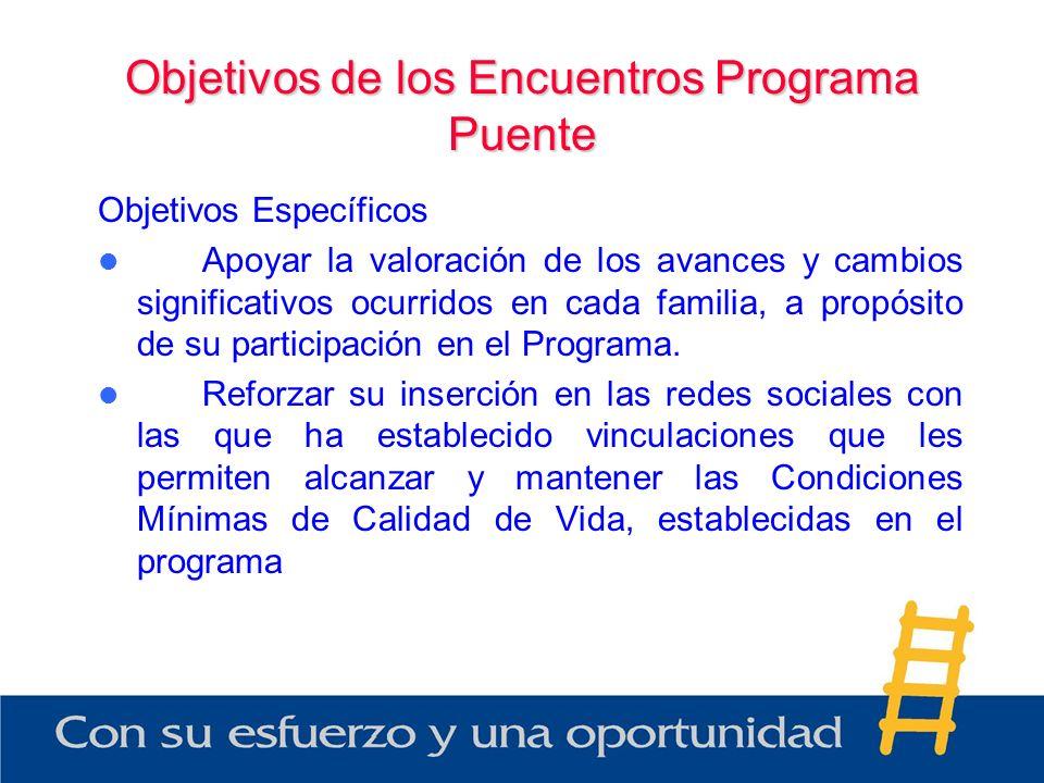 Objetivos de los Encuentros Programa Puente