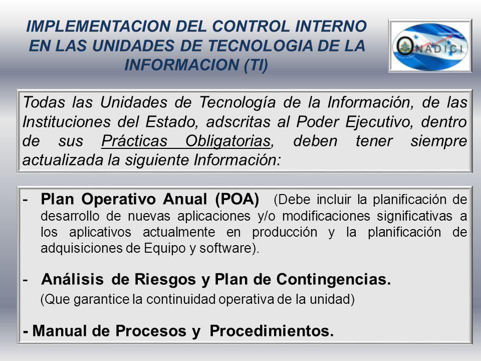 IMPLEMENTACION DEL CONTROL INTERNO EN LAS UNIDADES DE TECNOLOGIA DE LA INFORMACION (TI)