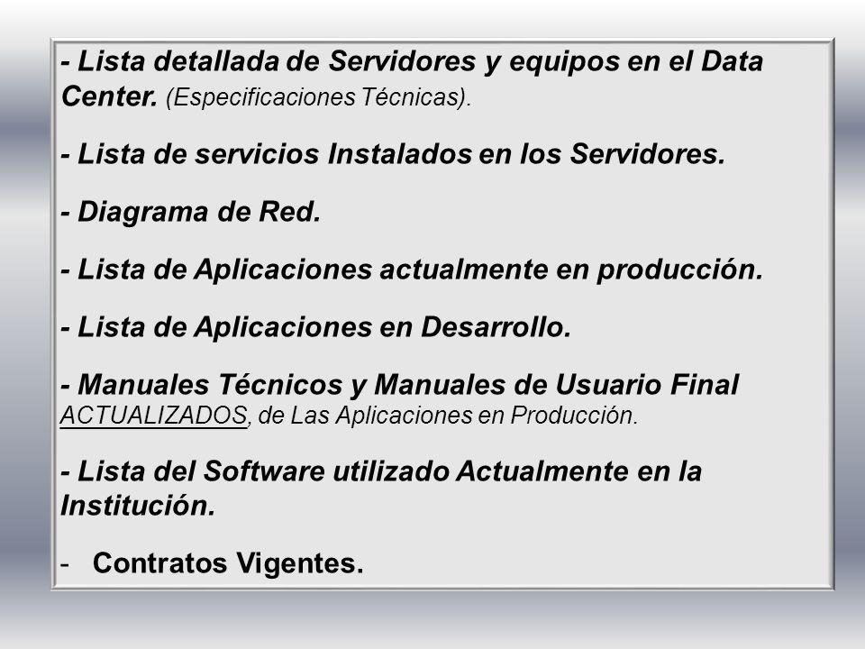 - Lista detallada de Servidores y equipos en el Data Center