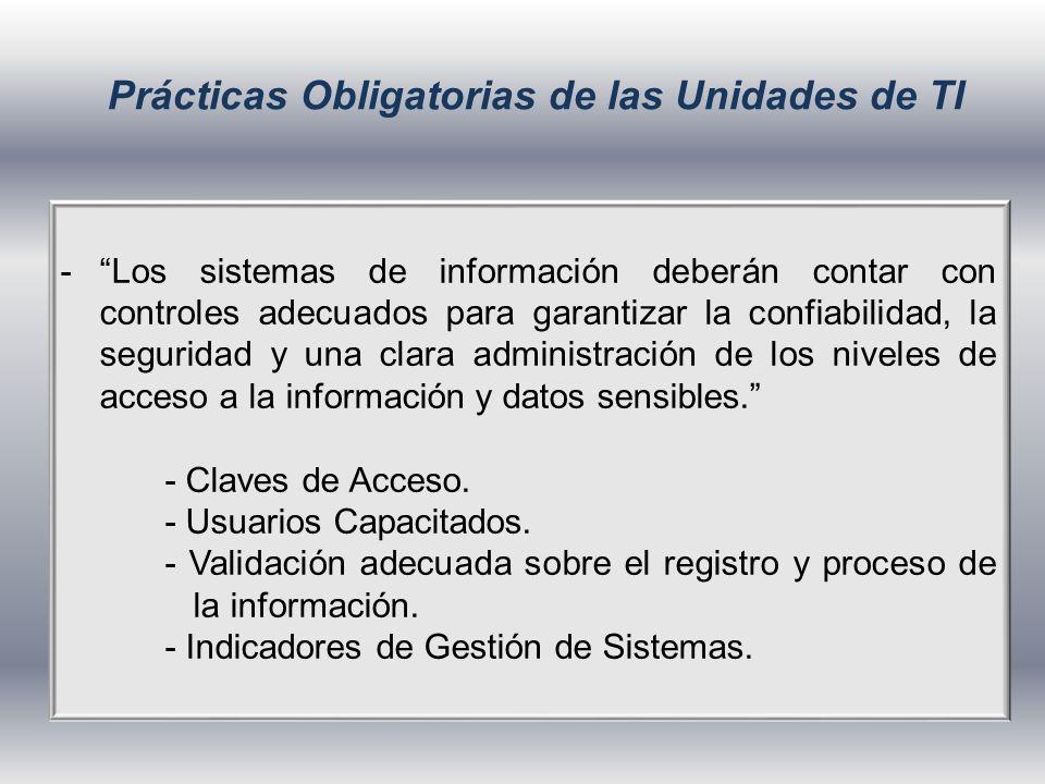 Prácticas Obligatorias de las Unidades de TI