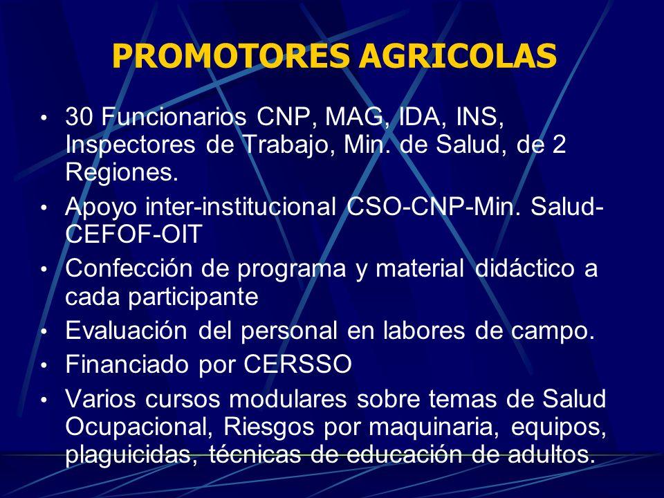 PROMOTORES AGRICOLAS30 Funcionarios CNP, MAG, IDA, INS, Inspectores de Trabajo, Min. de Salud, de 2 Regiones.
