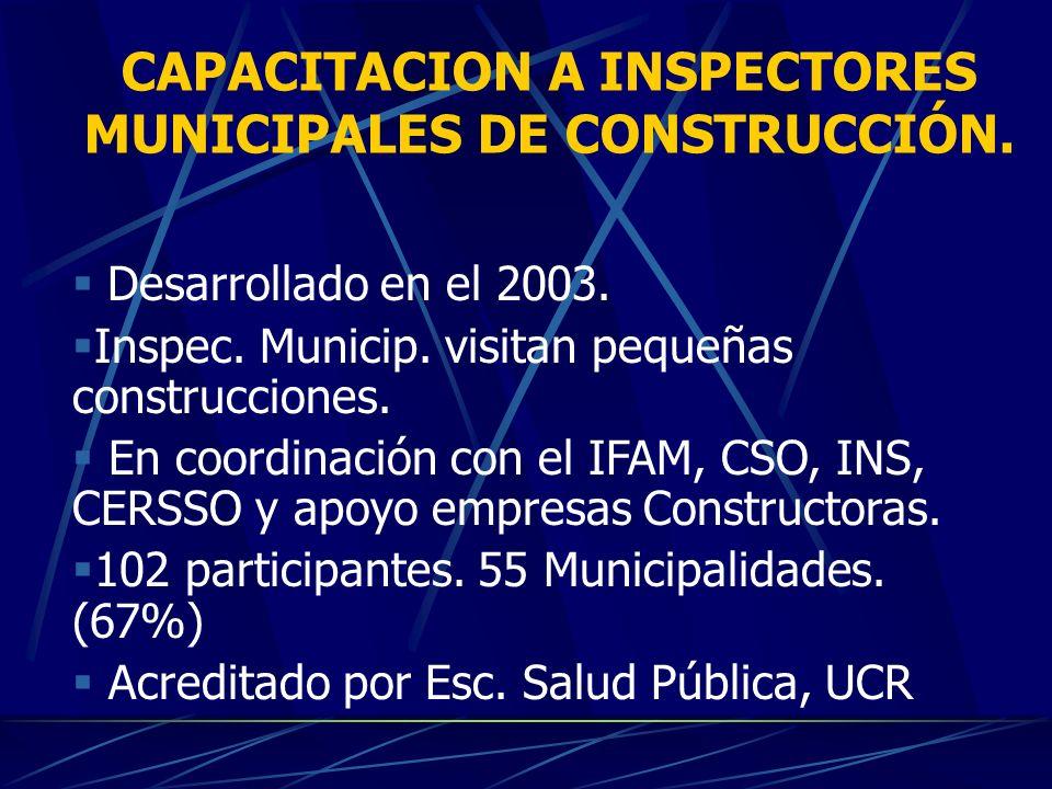 CAPACITACION A INSPECTORES MUNICIPALES DE CONSTRUCCIÓN.