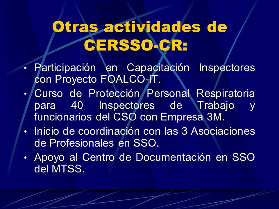 Otras actividades de CERSSO-CR: