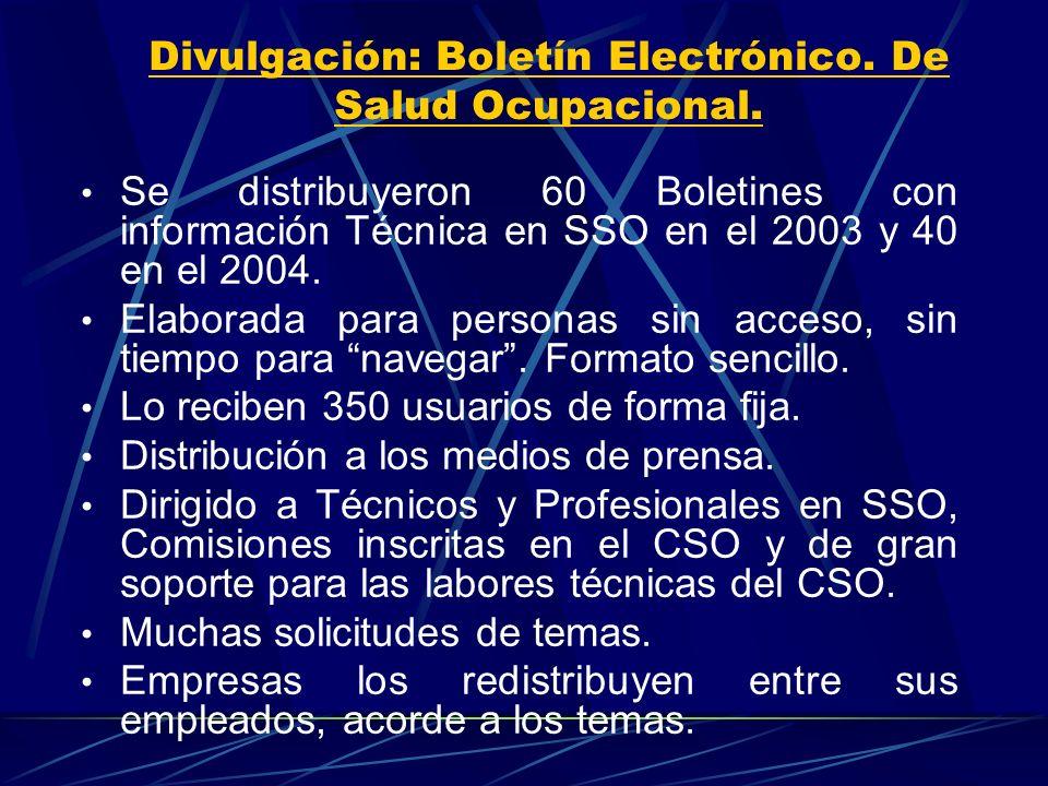 Divulgación: Boletín Electrónico. De Salud Ocupacional.
