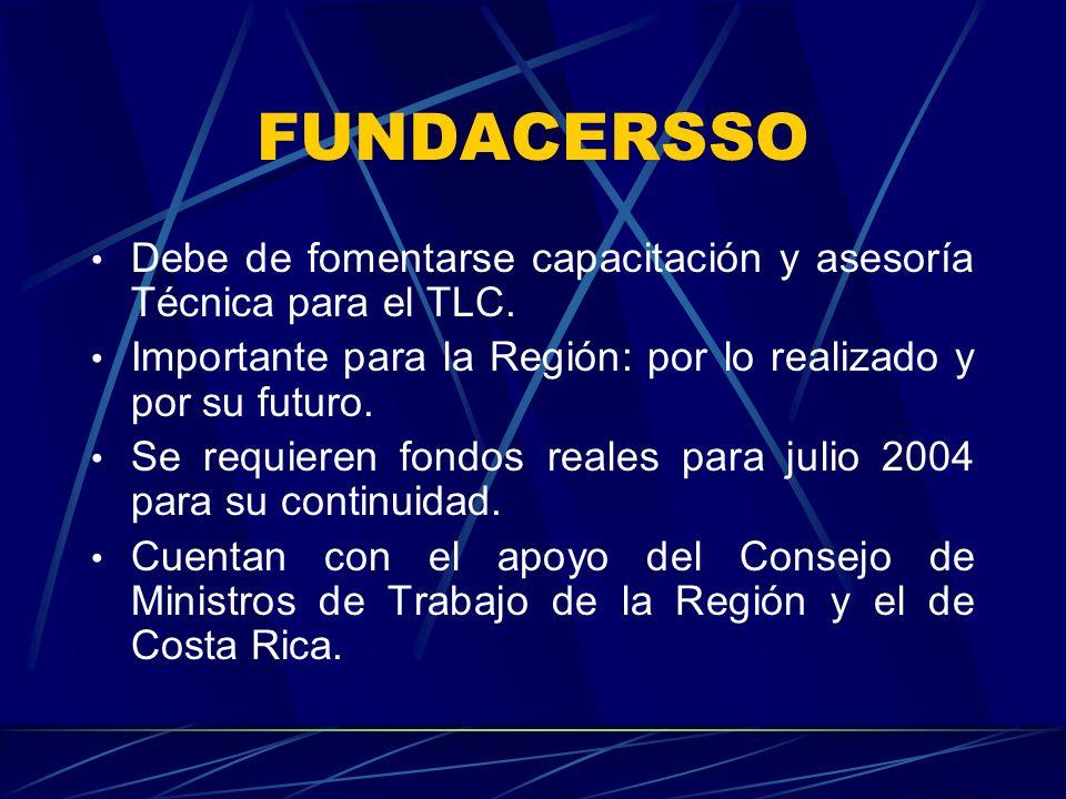 FUNDACERSSO Debe de fomentarse capacitación y asesoría Técnica para el TLC. Importante para la Región: por lo realizado y por su futuro.
