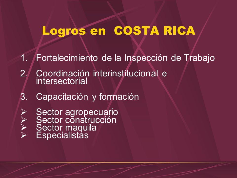 Logros en COSTA RICA Fortalecimiento de la Inspección de Trabajo