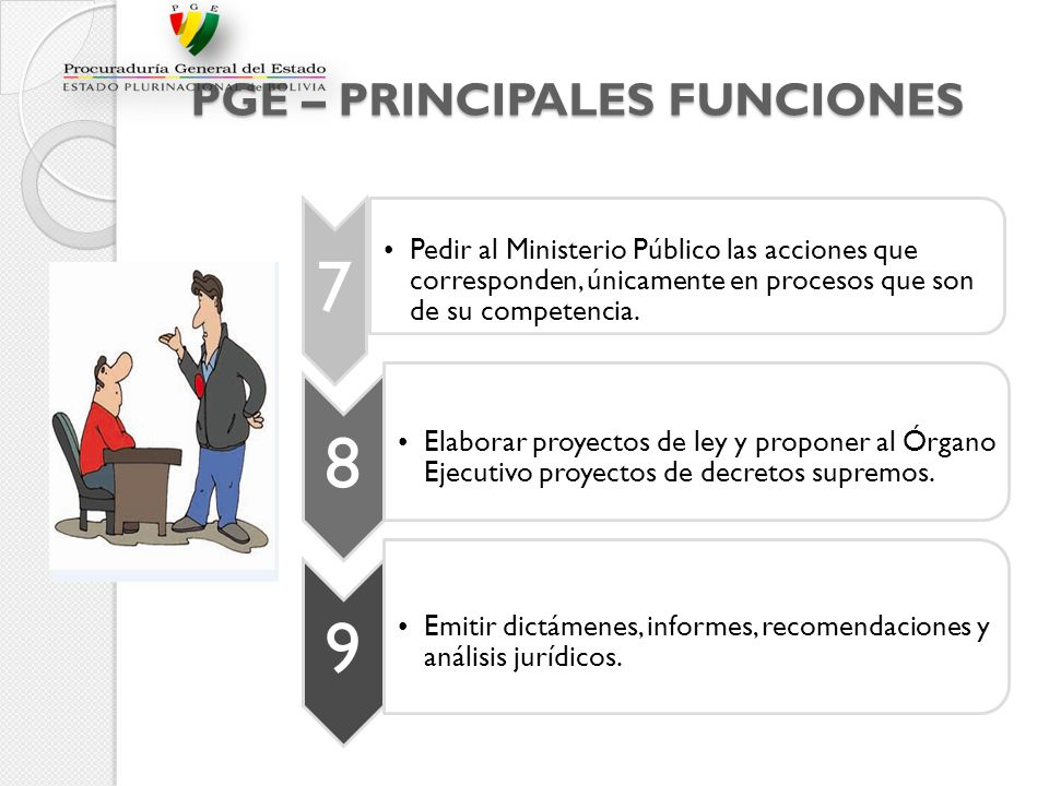PGE – PRINCIPALES FUNCIONES