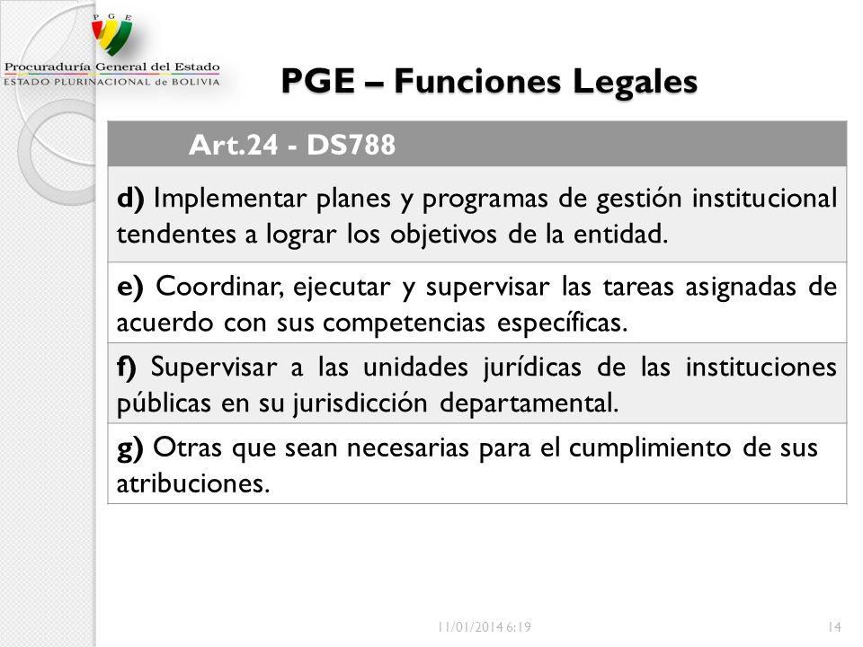 PGE – Funciones Legales