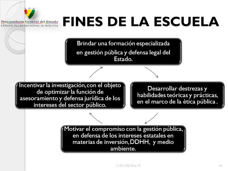 FINES DE LA ESCUELA Brindar una formación especializada. en gestión pública y defensa legal del Estado.