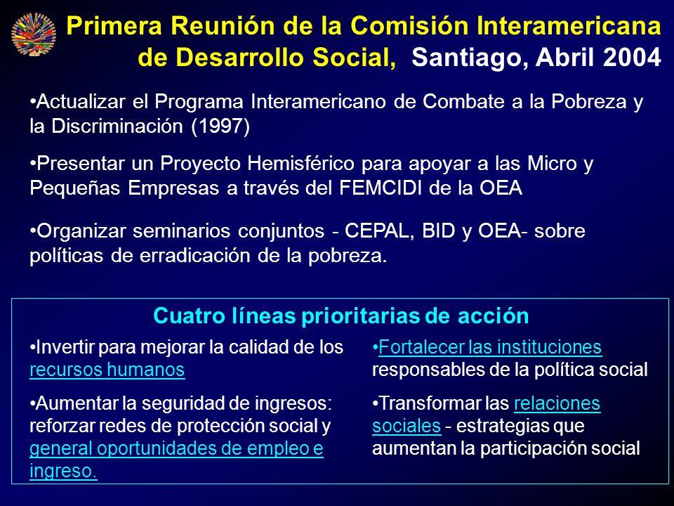 Primera Reunión de la Comisión Interamericana de Desarrollo Social, Santiago, Abril 2004
