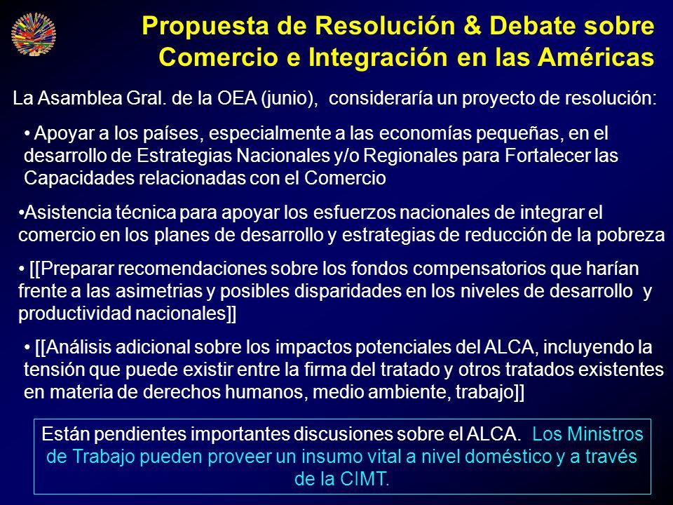 Propuesta de Resolución & Debate sobre Comercio e Integración en las Américas
