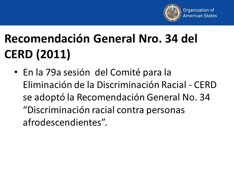 Recomendación General Nro. 34 del CERD (2011)