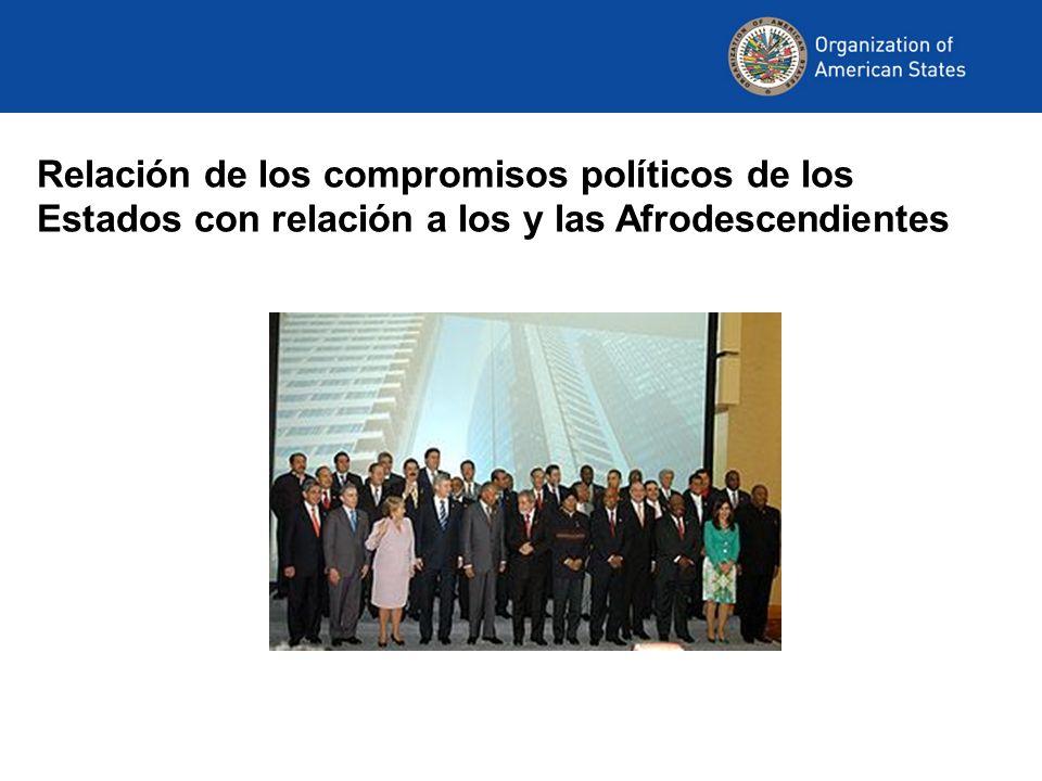 Relación de los compromisos políticos de los Estados con relación a los y las Afrodescendientes