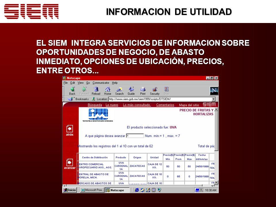 INFORMACION DE UTILIDAD