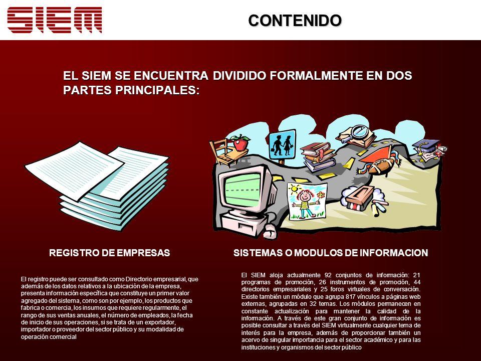 CONTENIDO EL SIEM SE ENCUENTRA DIVIDIDO FORMALMENTE EN DOS PARTES PRINCIPALES: REGISTRO DE EMPRESAS.