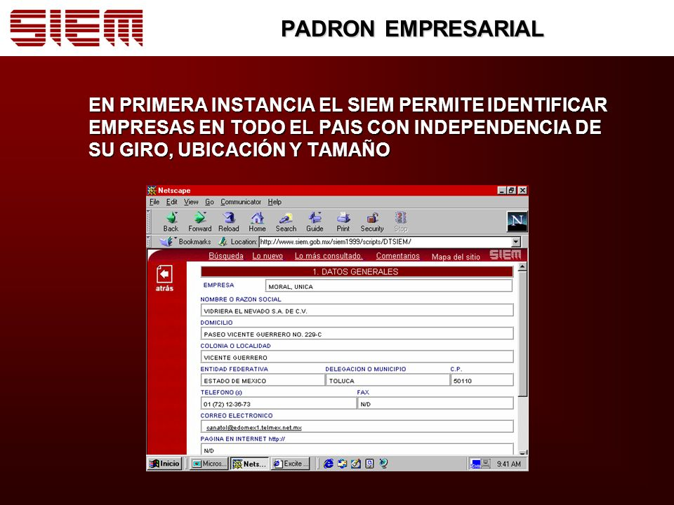 PADRON EMPRESARIAL EN PRIMERA INSTANCIA EL SIEM PERMITE IDENTIFICAR EMPRESAS EN TODO EL PAIS CON INDEPENDENCIA DE SU GIRO, UBICACIÓN Y TAMAÑO.