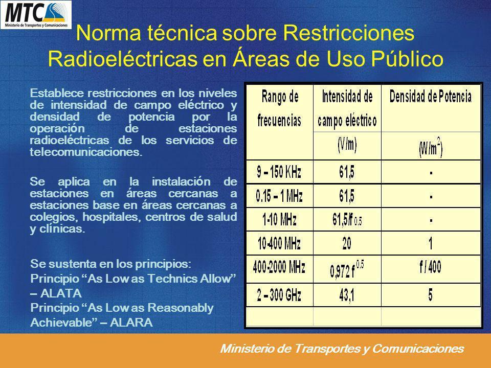 Norma técnica sobre Restricciones Radioeléctricas en Áreas de Uso Público