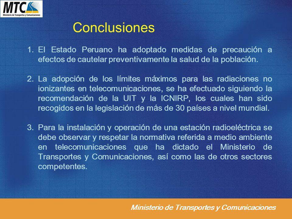 Conclusiones El Estado Peruano ha adoptado medidas de precaución a efectos de cautelar preventivamente la salud de la población.