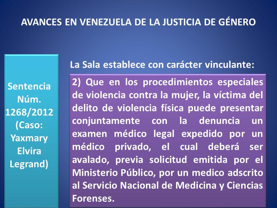 AVANCES EN VENEZUELA DE LA JUSTICIA DE GÉNERO