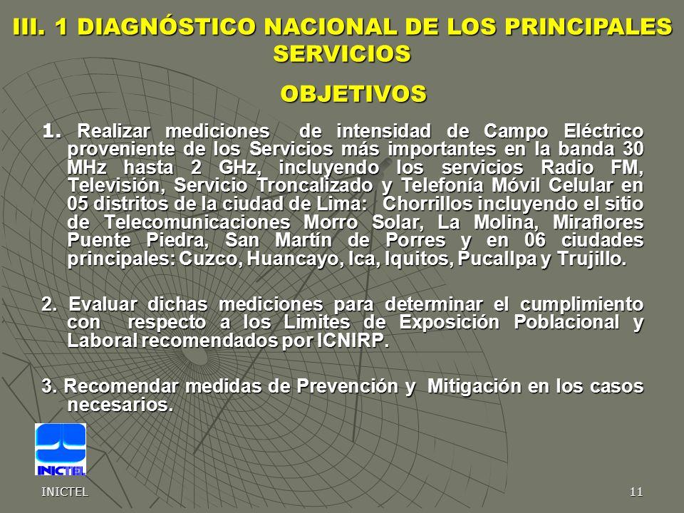 III. 1 DIAGNÓSTICO NACIONAL DE LOS PRINCIPALES SERVICIOS