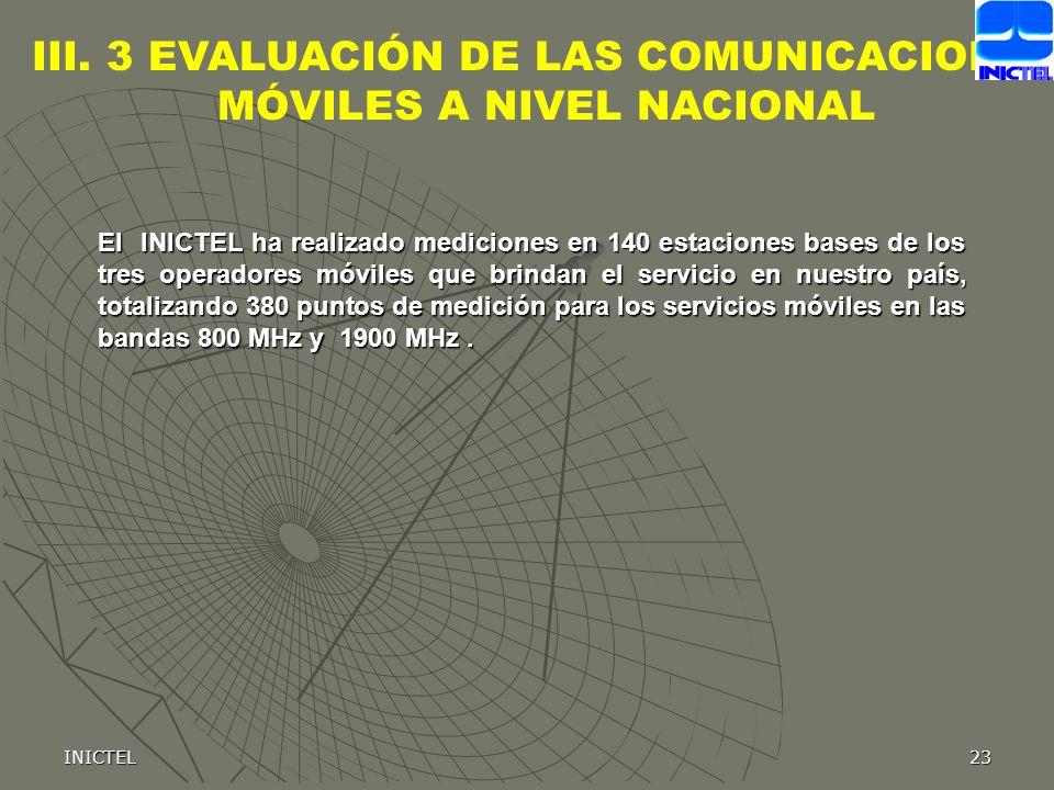 III. 3 EVALUACIÓN DE LAS COMUNICACIONES MÓVILES A NIVEL NACIONAL