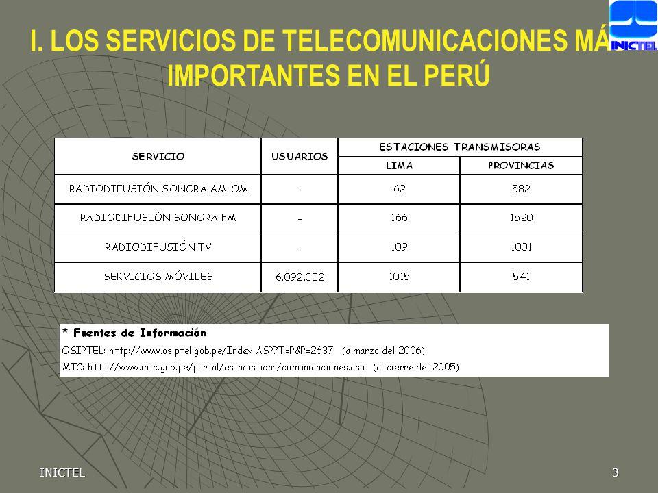 I. LOS SERVICIOS DE TELECOMUNICACIONES MÁS IMPORTANTES EN EL PERÚ