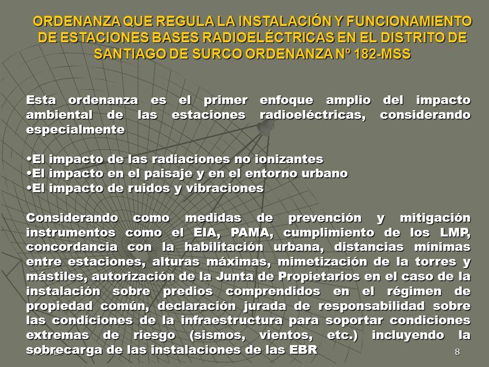 ORDENANZA QUE REGULA LA INSTALACIÓN Y FUNCIONAMIENTO DE ESTACIONES BASES RADIOELÉCTRICAS EN EL DISTRITO DE SANTIAGO DE SURCO ORDENANZA Nº 182-MSS