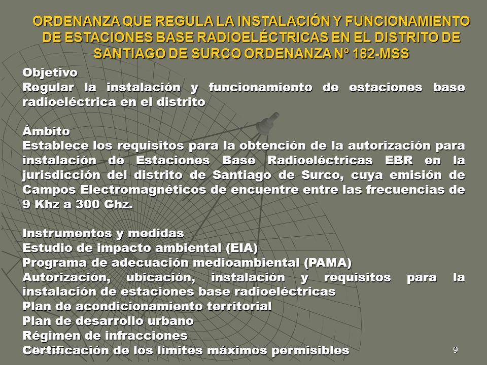 ORDENANZA QUE REGULA LA INSTALACIÓN Y FUNCIONAMIENTO DE ESTACIONES BASE RADIOELÉCTRICAS EN EL DISTRITO DE SANTIAGO DE SURCO ORDENANZA Nº 182-MSS