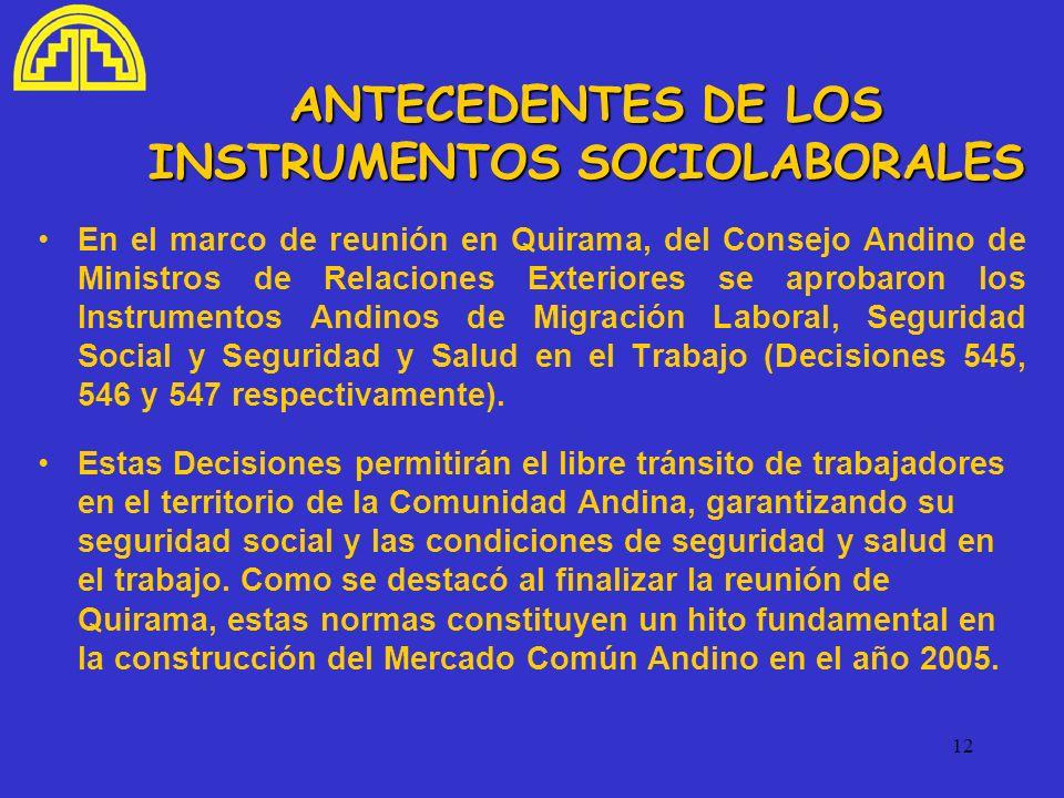 ANTECEDENTES DE LOS INSTRUMENTOS SOCIOLABORALES