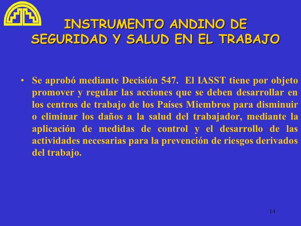 INSTRUMENTO ANDINO DE SEGURIDAD Y SALUD EN EL TRABAJO