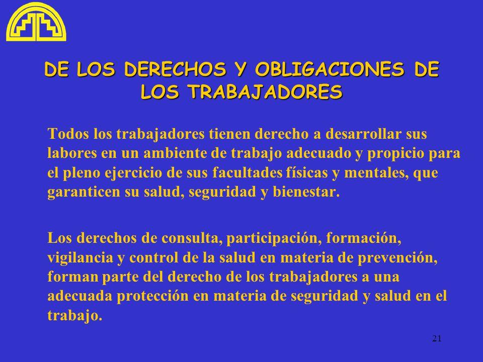DE LOS DERECHOS Y OBLIGACIONES DE LOS TRABAJADORES
