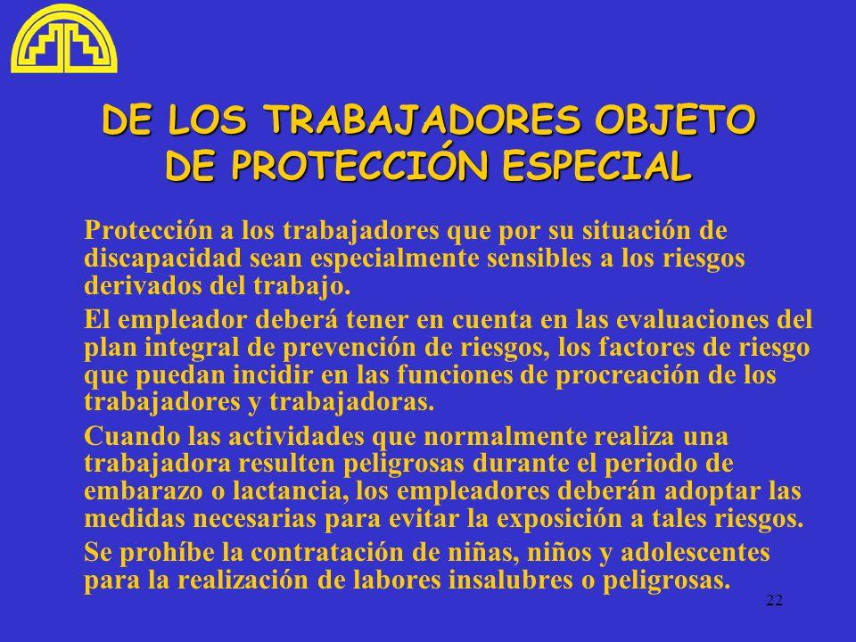 DE LOS TRABAJADORES OBJETO DE PROTECCIÓN ESPECIAL