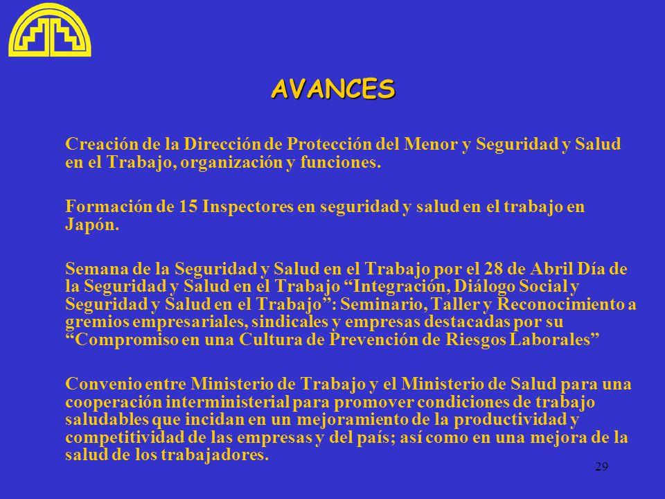 AVANCES Creación de la Dirección de Protección del Menor y Seguridad y Salud en el Trabajo, organización y funciones.