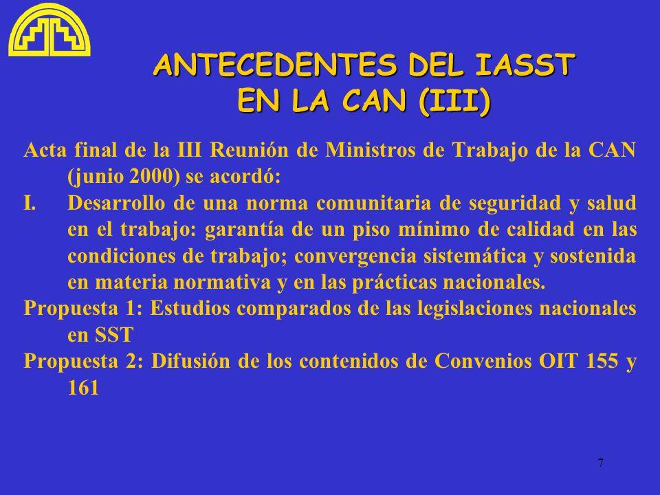 ANTECEDENTES DEL IASST EN LA CAN (III)