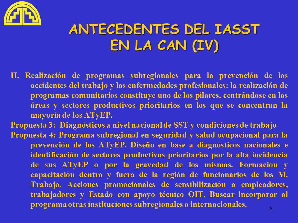 ANTECEDENTES DEL IASST EN LA CAN (IV)