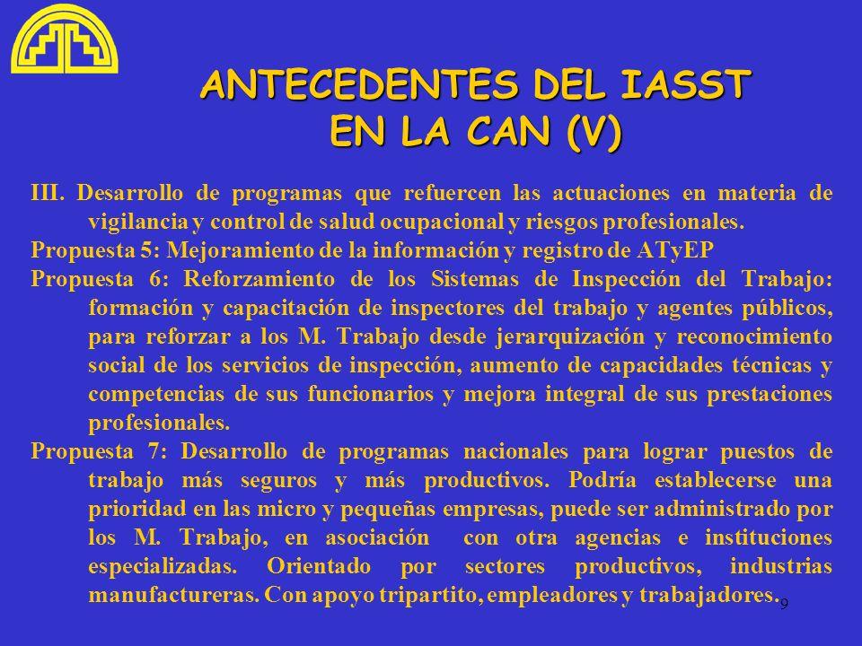ANTECEDENTES DEL IASST EN LA CAN (V)