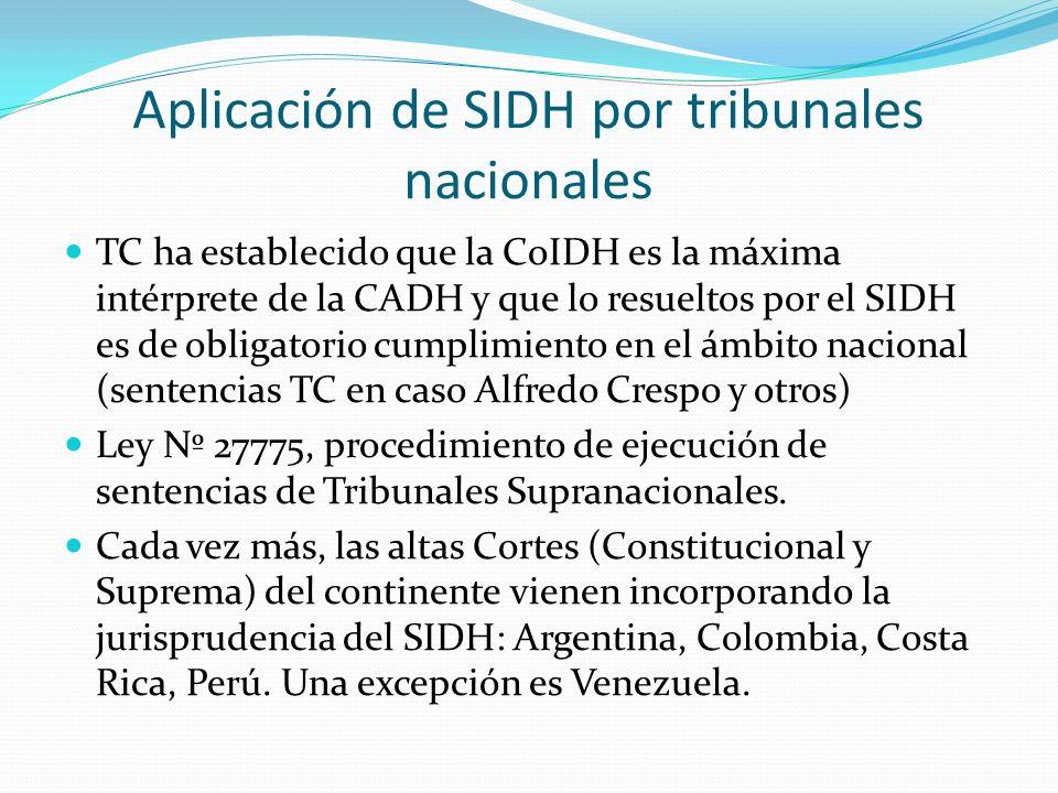 Aplicación de SIDH por tribunales nacionales