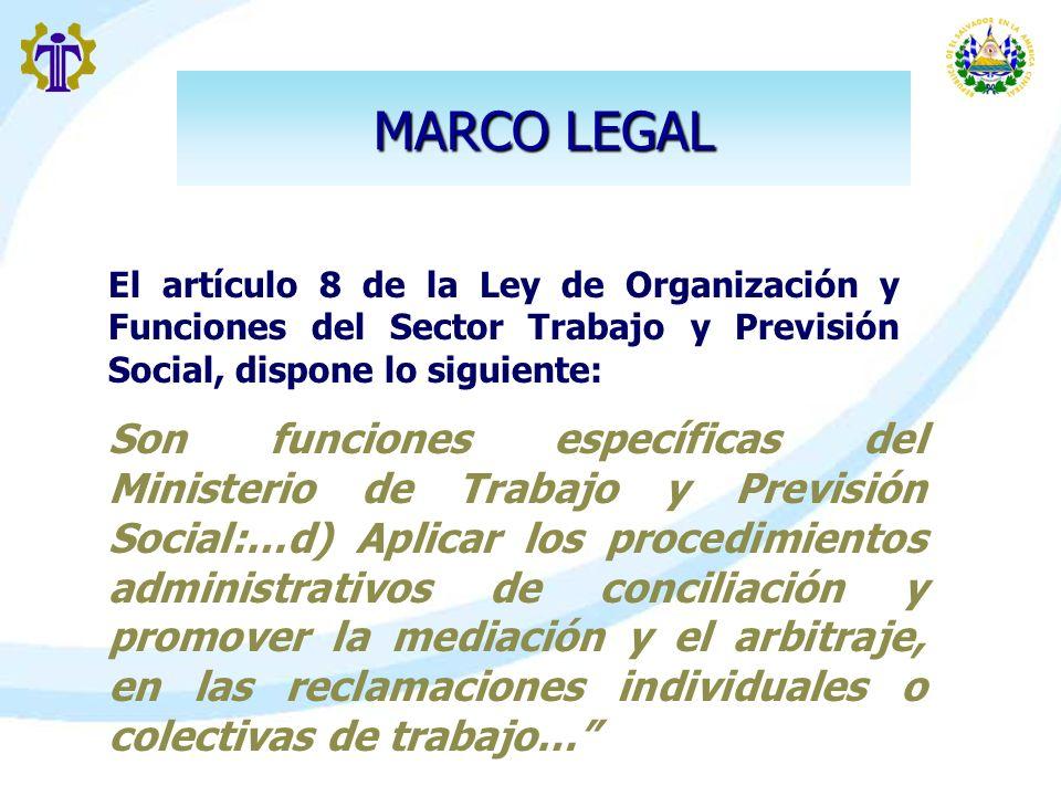 MARCO LEGAL El artículo 8 de la Ley de Organización y Funciones del Sector Trabajo y Previsión Social, dispone lo siguiente: